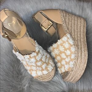 Marc Fisher Adalyn Espadrille tan and white 8